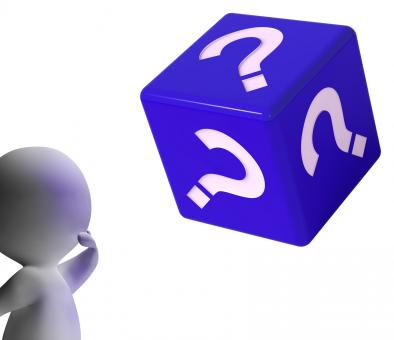 Free Stock Photo of Question Mark Dice Shows Symbol For Information
