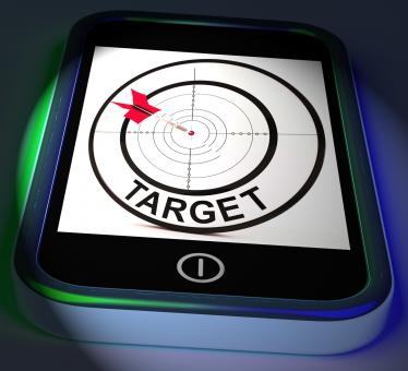 Free Stock Photo of Target Smartphone Displays Goals Aims And Objectives