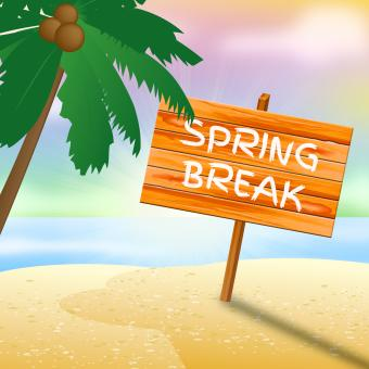 Free Stock Photo of Spring Break Sign Means Go On Leave And Beach
