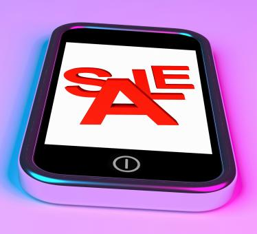 Free Stock Photo of Sale Message On Smartphone Shows Online Discounts