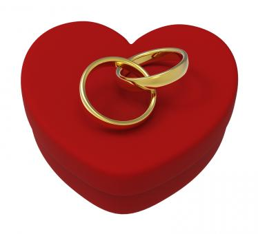 Free Stock Photo of Wedding Rings On Heart Box Show Engagement And Marriage