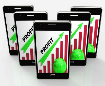 Free Stock Photo of Profit Graph Phone Shows Sales Revenue And Return