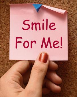 Free Stock Photo of Smile For Me Note Means Be Happy Cheerful