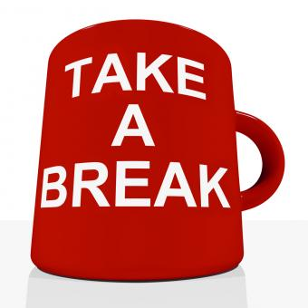 Free Stock Photo of Take A Break Mug Showing Relaxing And Tiredness