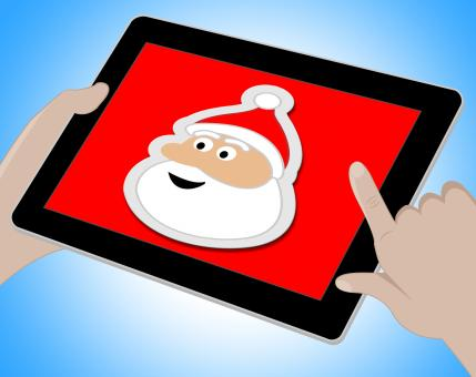 Free Stock Photo of Santa Online Indicates Merry Christmas And Computing