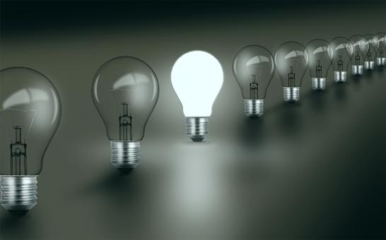Free Stock Photo of Bright Idea - Standing Out - Concept with Light Bulbs