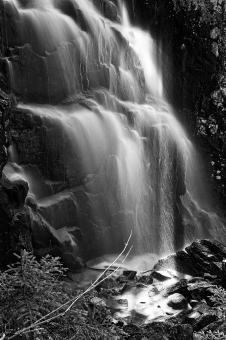 Free Stock Photo of Hadlock Sunbeam Falls - Black & White