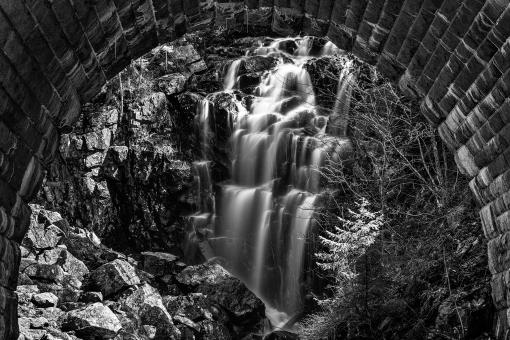 Free Stock Photo of Hadlock Arch Falls - Black & White