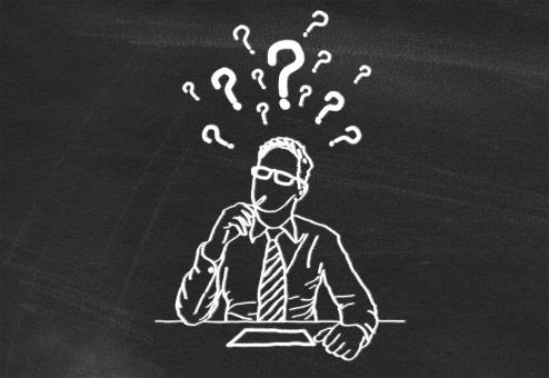 Free Stock Photo of Having Doubts - Drawing of a Man on Blackboard - Illustration