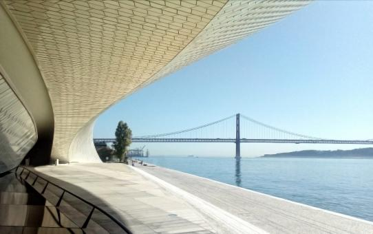 Free Stock Photo of Lisbon - 25 of April Bridge Over the Tagus River From the MAAT Museum