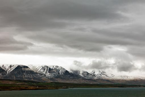 Free Stock Photo of Cloudy Akureyri Mountain Coast