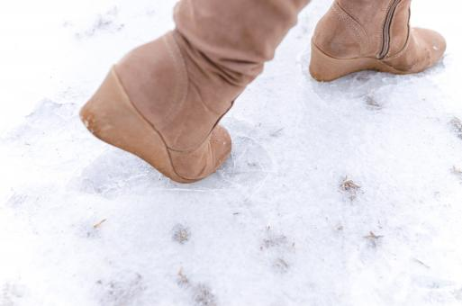 Free Stock Photo of Human Steps on Frosted Ground