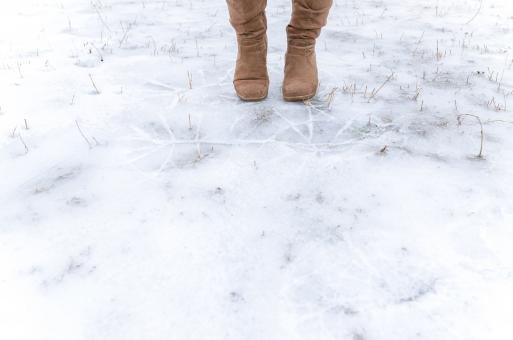 Free Stock Photo of Human Standing on Frosted Ground