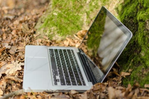 Free Stock Photo of Notebook PC in Forest