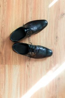 Free Stock Photo of Black Male Shoes from Above