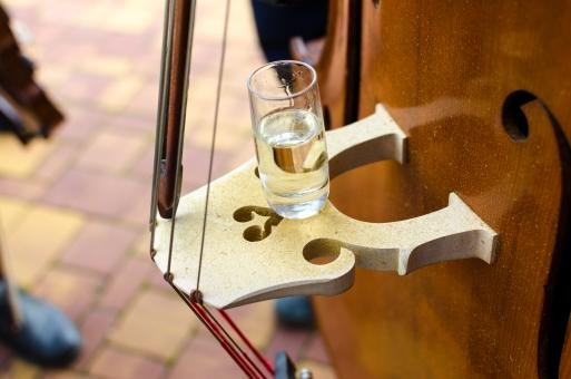 Free Stock Photo of Glass of Water on Contrabass