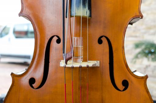 Free Stock Photo of Contrabass used as a glass holder