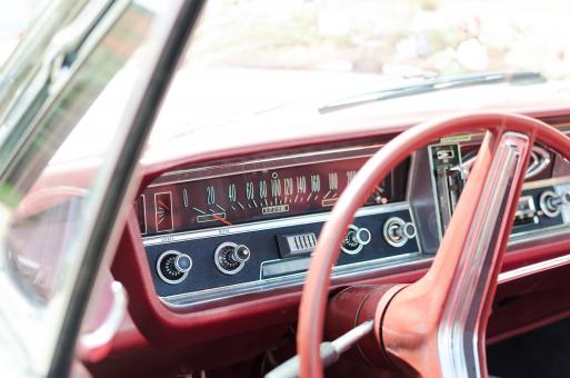Free Stock Photo of Classic Red Car Interior