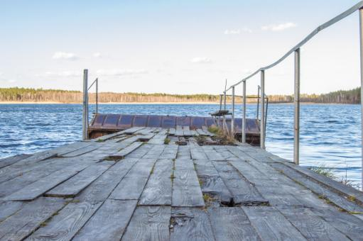 Free Stock Photo of Old wooden pier with holes in rotten boards on the background of fores