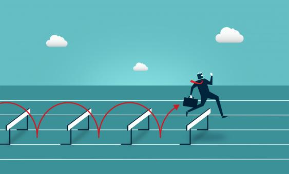Free Stock Photo of Businessman Jumping Over Hurdles - Overcoming Barriers