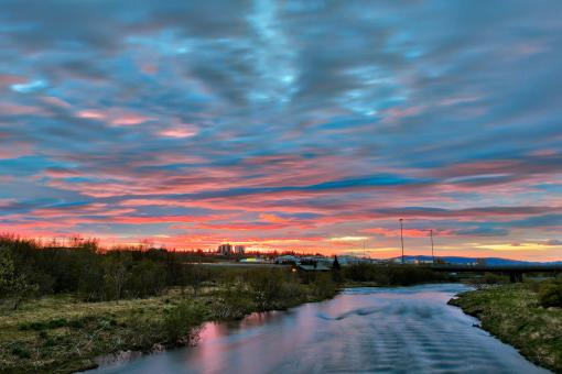 Free Stock Photo of Reykjavik River Twilight