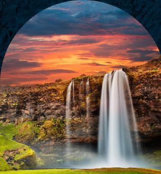 Free Stock Photo of Seljalandsfoss Sunset Fantasy