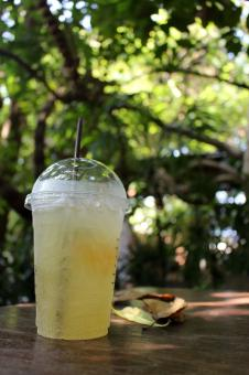 Free Stock Photo of Cup of iced lemon tea outside on a table in a tropical garden