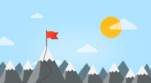 Free Stock Photo of Summit - Reaching A New Career Height - Mountain with Flag