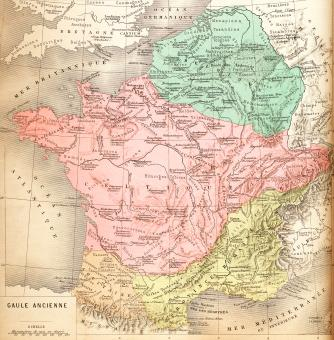 Free Stock Photo of Vintage French Map - Ancient Gaul