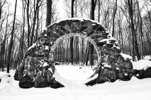 Free Stock Photo of Winter Celtic Eye Trail - Black & White
