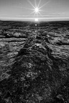 Free Stock Photo of Iceland Sunburst - Black & White