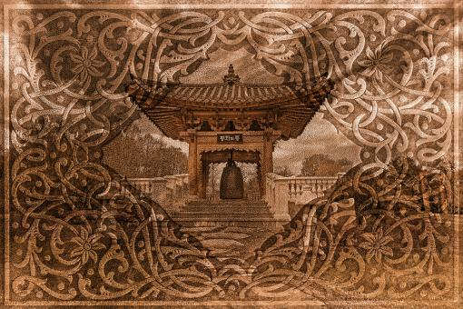 Free Stock Photo of Korean Storybook Garden - Sepia Nostalgia
