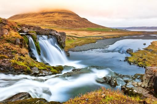 Free Stock Photo of Drifting Colors of Kirkjufellsfoss
