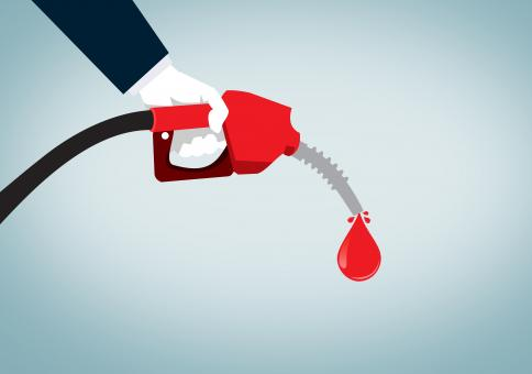 Free Stock Photo of Hand Holding Red Nozzle Pumping Gas - Fossil Fuel - Oil and Petrol