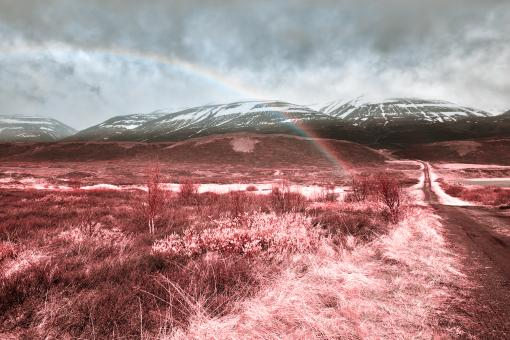 Free Stock Photo of Iceland Mountain Rainbow - Tickle Me Pink