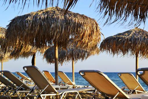 Free Stock Photo of Sunbeds and Umbrellas Details by the Sea in Greece