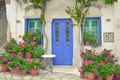 Free Stock Photo of Door with Flower and Windows in Tinos Island of Greece