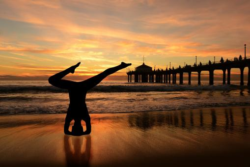 Free Stock Photo of Yoga Pose Silhouette by the Sea