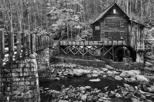 Free Stock Photo of Glade Creek Grist Mill - Black & White