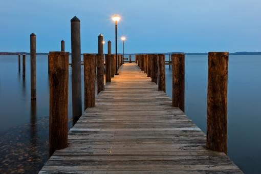 Free Stock Photo of Blue Hour Pier - Havre de Grace