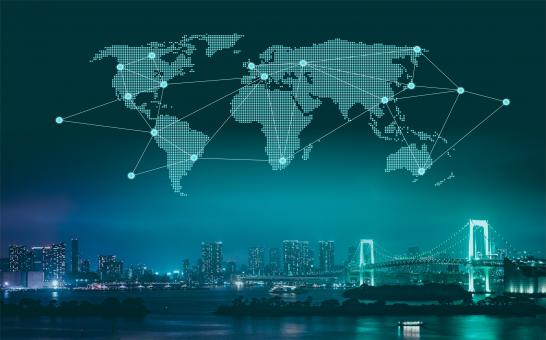 Free Stock Photo of Trade and Commerce - World Map Over City at Night