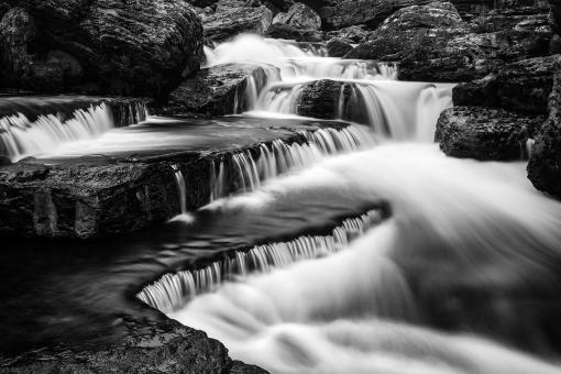 Free Stock Photo of Caney Fork Cascades - Black & White