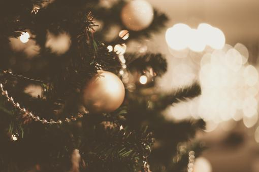 Free Stock Photo of Christmas Tree Ornaments and Bokeh