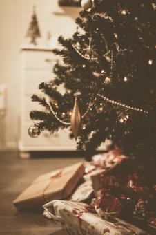 Free Stock Photo of Christmas Tree Ornament and Gifts