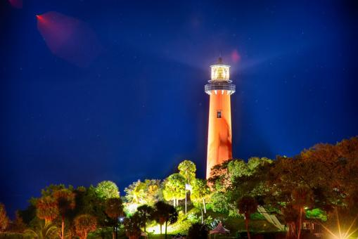 Free Stock Photo of Shining Lighthouse Tower in the Night