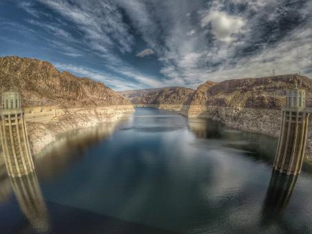 Free Stock Photo of Upstream Hoover Dam Canyon