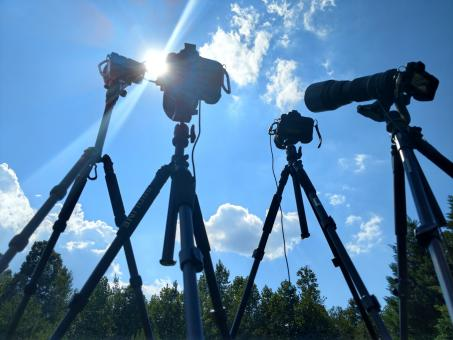 Free Stock Photo of Camera Setup for Solar Eclipse