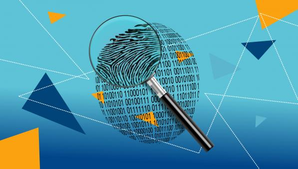 Free Stock Photo of Magnifying Glass Over Digital ID Fingerprint