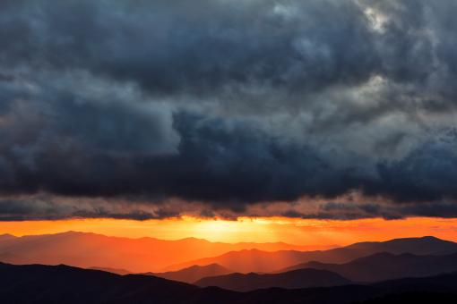 Free Stock Photo of Smoky Mountains Sunset Rapture