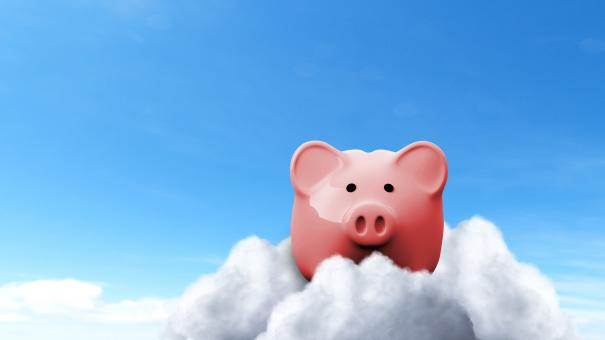 Free Stock Photo of Piggy Bank on Clouds - Savings Concept Illustration